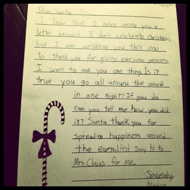 A Muslim 4th-Grader's Letter To Santa