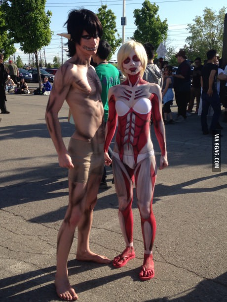 Amazing male and female titan cosplay!