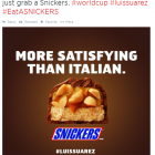 Snickers Adds its Own Commentary to the World Cup Suarez Bite
