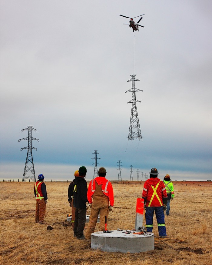 Installing a power line tower