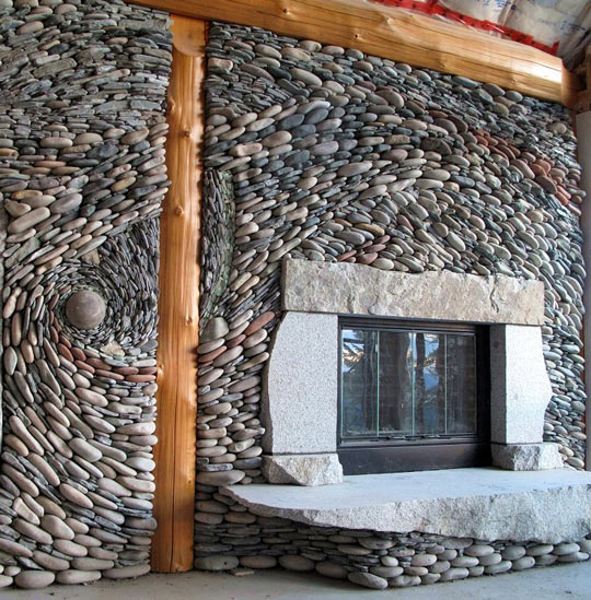 how to build a rock wall behind wood stove