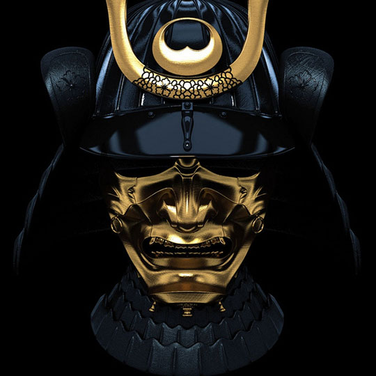 Samurai Mask In Gold And Black