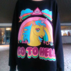 Black Long Sleeve Unicorn Rainbow Print Sweatshirt