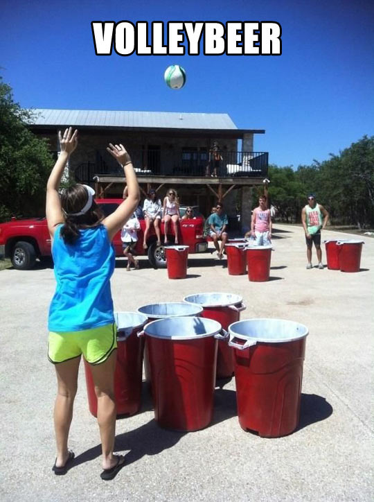 Giant Beer Pong Game Playing